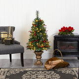 4' Pine, Pinecone and Berries Artificial Christmas Tree with 100 Clear LED Lights in Decorative Urn