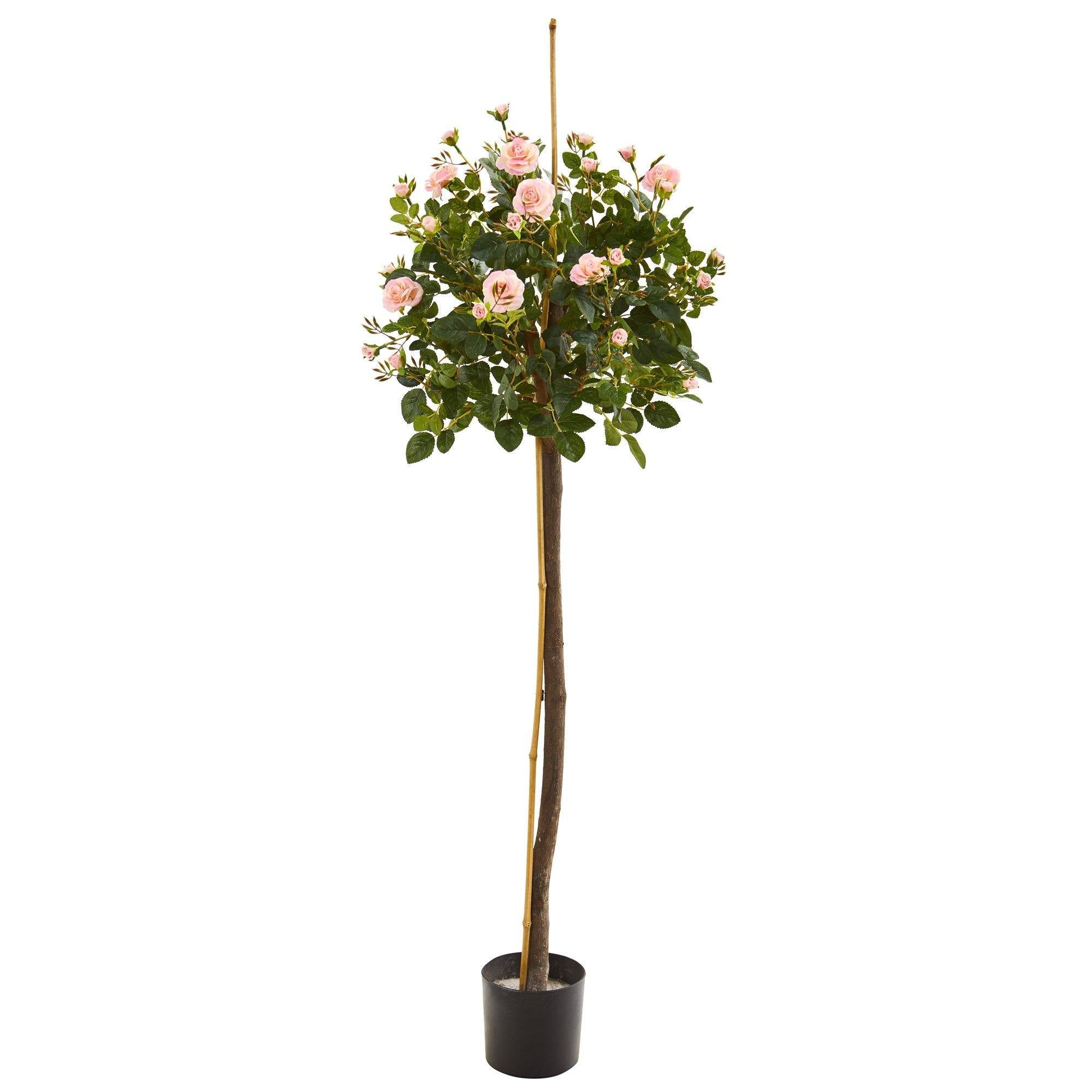 4 Rose Topiary Artificial Tree Nearly Natural
