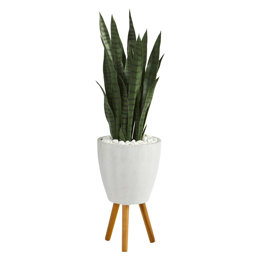 4' Sansevieria Artificial Plant in White Planter with Stand