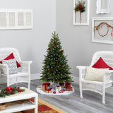 4' Snow Tipped Portland Spruce Artificial Christmas Tree with Frosted Berries and Pinecones with 100 Clear LED Lights