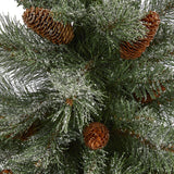 4' Snowed French Alps Mountain Pine Artificial Christmas Tree with 237 Bendable Branches and Pine Cones