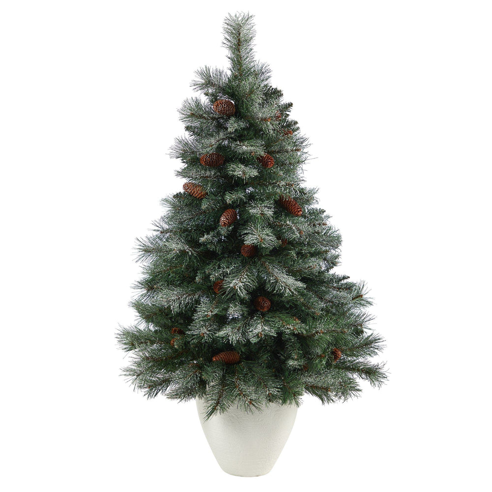 4' Snowed French Alps Mountain Pine Artificial Christmas Tree with 237 Bendable Branches and Pine Cones in White Planter