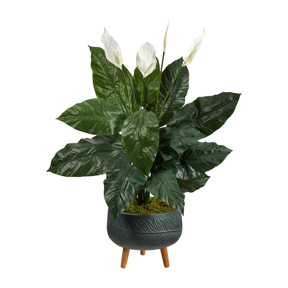 4' Spathiphyllum Artificial Plant in Black Planter with Stand