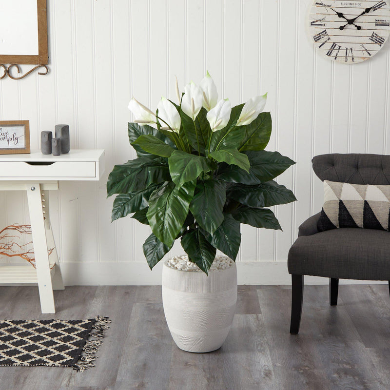 4' Spathiphyllum Artificial Plant in White Designer Planter