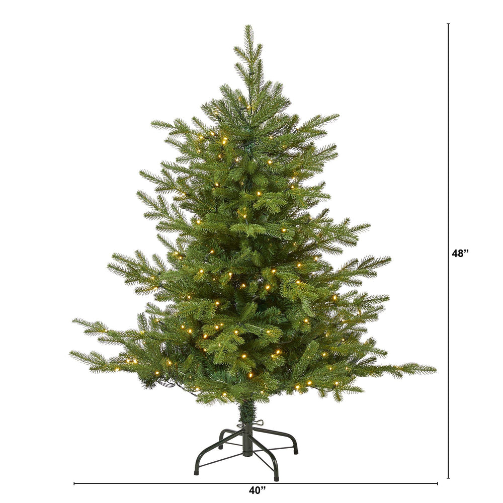 4 Swedish Fir Artificial Christmas Tree With 160 Warm White Led Lights And 403 Bendable Branches Nearly Natural