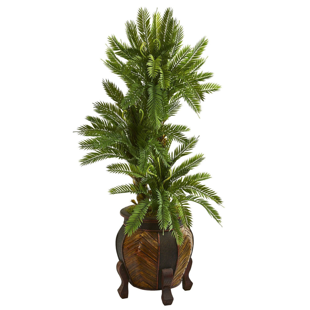 4 Triple Cycas Artificial Plant In Decorative Planter Nearly Natural