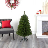 4' Virginia Fir Artificial Christmas Tree with 100 Clear Lights and 223 Bendable Branches