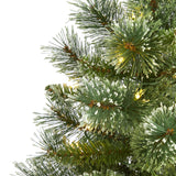 4' Wisconsin Slim Snow Tip Pine Artificial Christmas Tree with 100 Clear LED Light