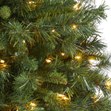 4' Wyoming Mixed Pine Artificial Christmas Tree with 150 Clear Lights and 270 Bendable Branches in Tower Planter