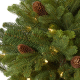 4' Yukon Mountain Fir Artificial Christmas Tree with 100 Clear Lights, Pine Cones and 386 Bendable Branches