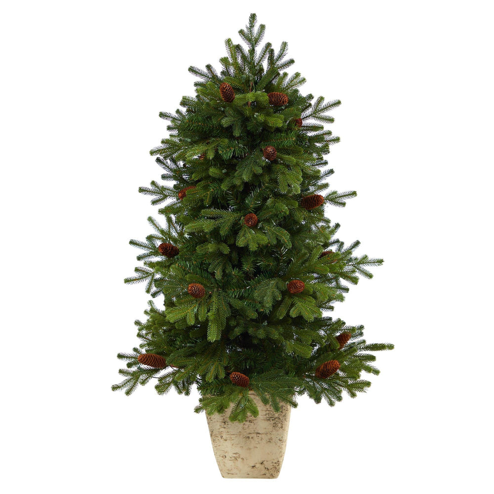 4' Yukon Mountain Fir Artificial Christmas Tree with 100 Clear Lights, Pine Cones and 386 Bendable Branches in Country White Planter