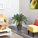 "40"" Cycas Artificial Tree in Black Embossed Tin Planter"