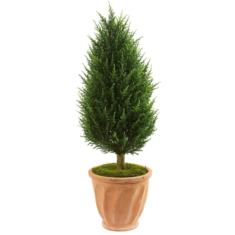 "40"" Cypress Artificial Tree in Terracotta Planter UV Resistant (Indoor/Outdoor)"
