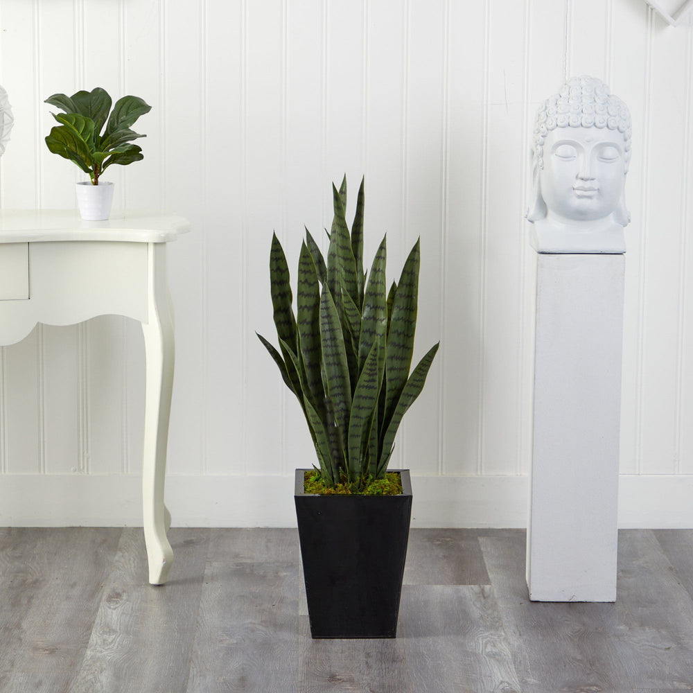 "40"" Sansevieria Artificial Plant in Black Metal Planter"