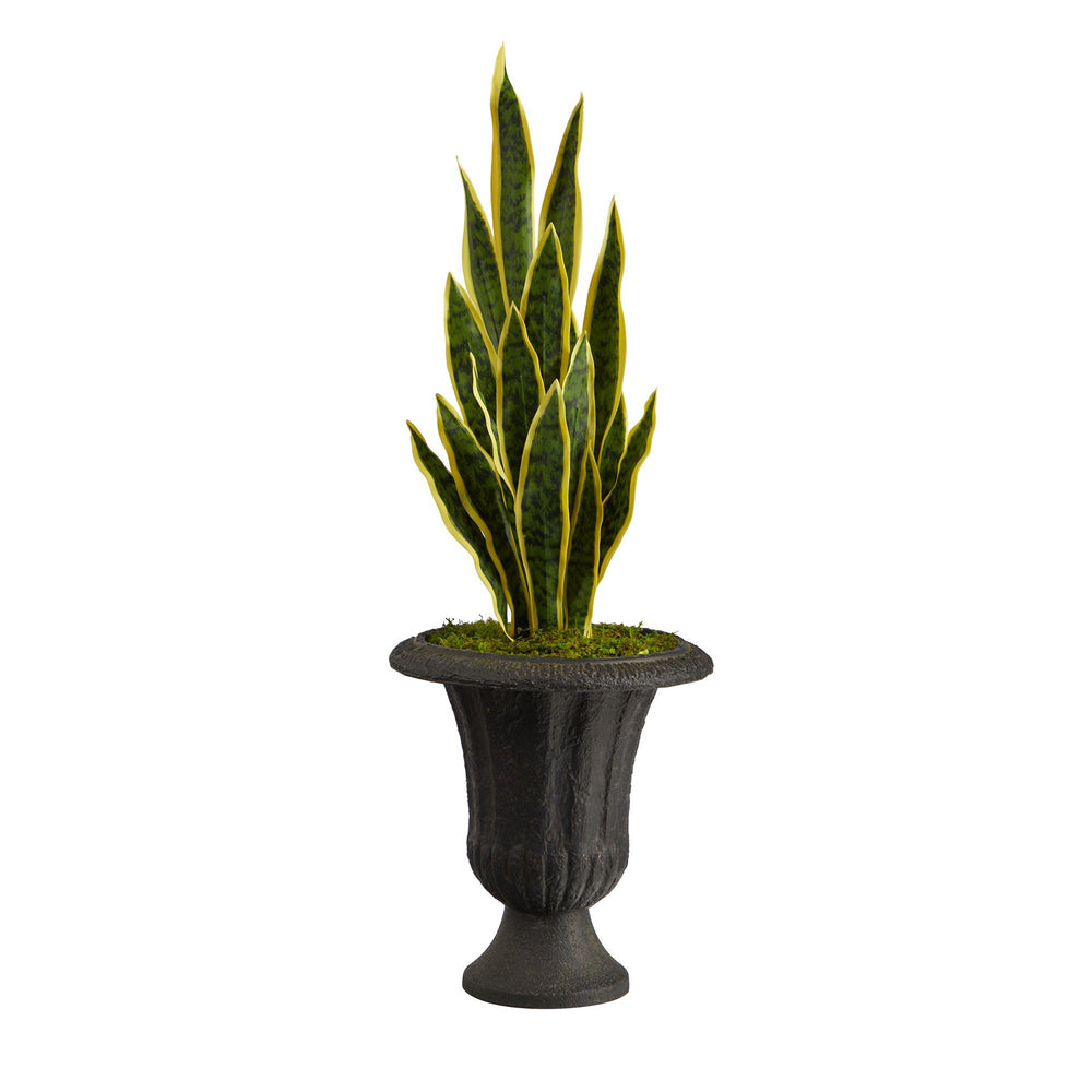 "40"" Sansevieria Artificial Plant in Charcoal Urn"