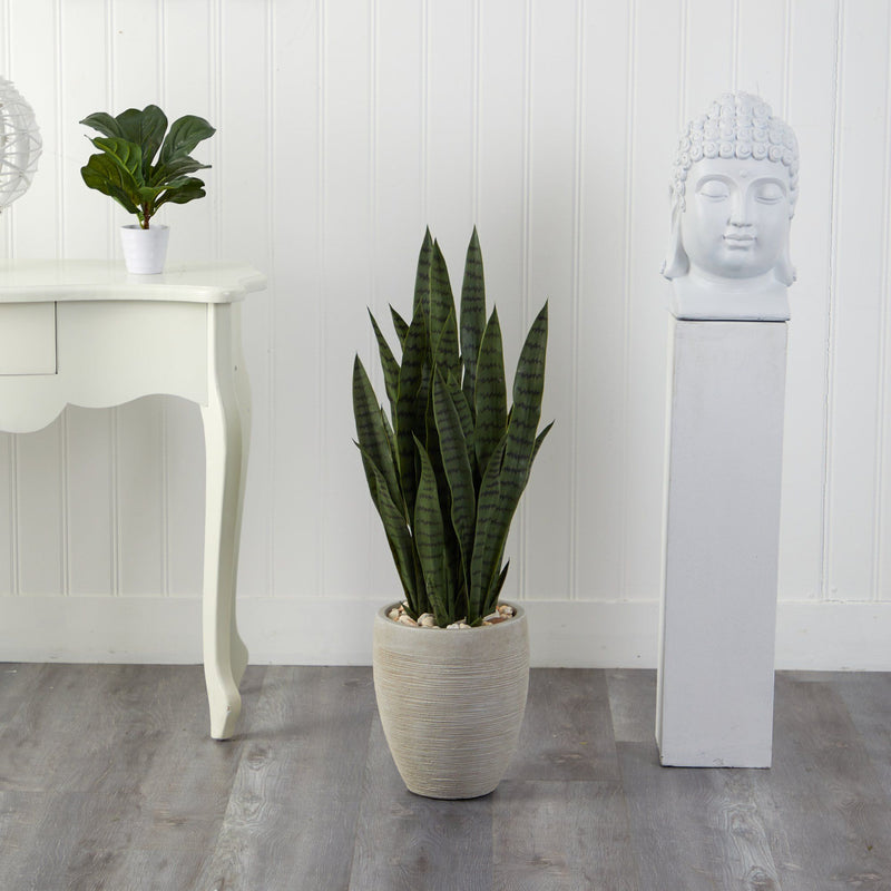 "40"" Sansevieria Artificial Plant in Sand Colored Planter"