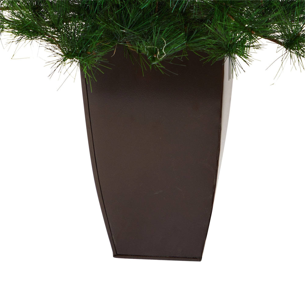 "40"" Yukon Mixed Pine Artificial Christmas Tree with 213 Bendable Branches in Bronze Metal Planter"
