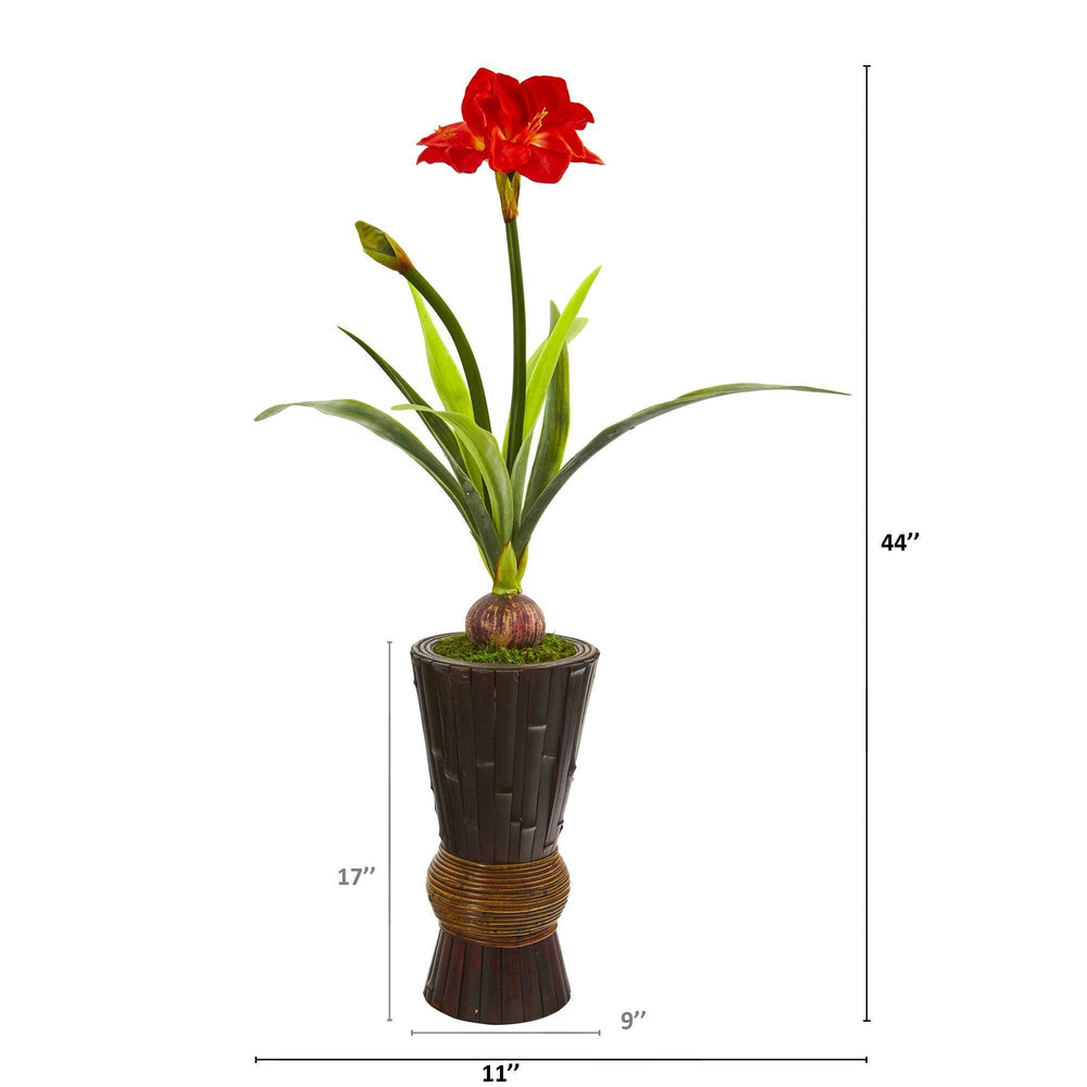 "44"" Amaryllis Artificial Plant in Decorative Planter"