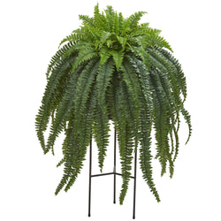 "44"" Boston Fern Artificial Plant in Stand Black Planter"