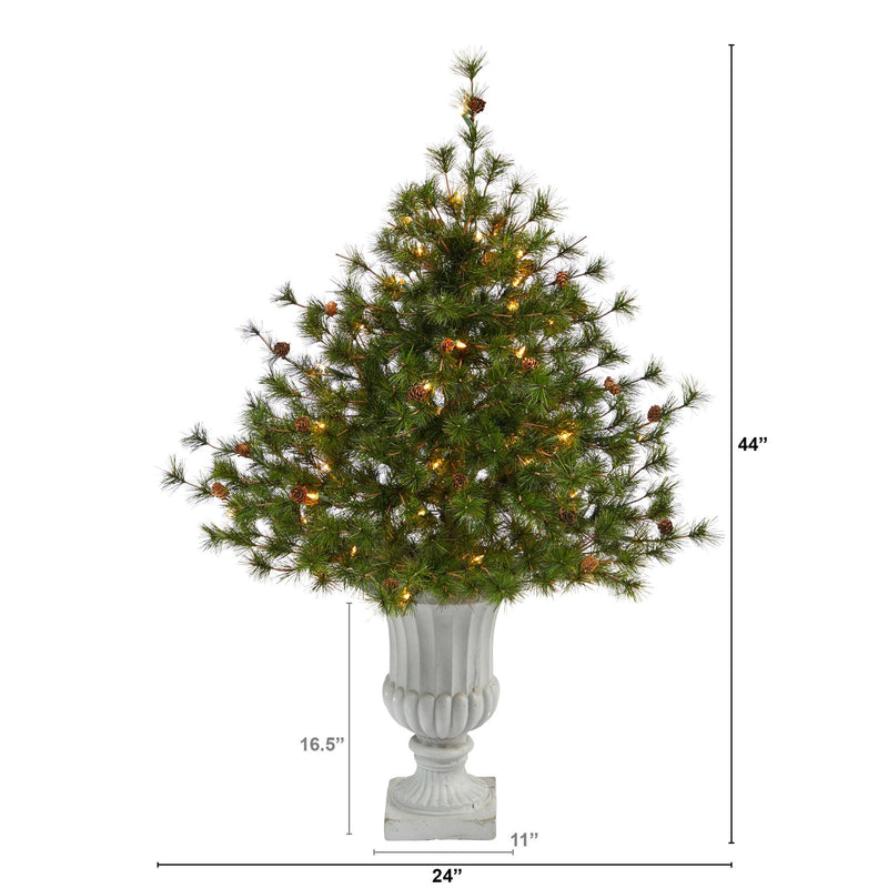 "44"" Colorado Mountain Pine Artificial Christmas Tree with 50 Clear Lights. 171 Bendable Branches and Pine Cones in Decorative Urn"