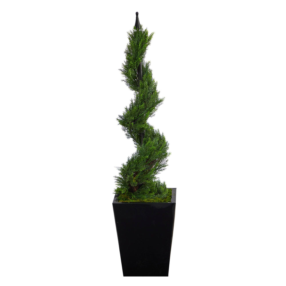 "44"" Cypress Spiral Topiary Artificial Tree in Black Metal Planter"