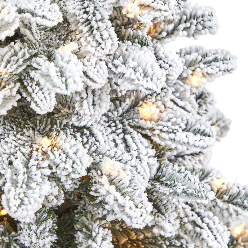 "44"" Flocked North Carolina Fir Artificial Christmas Tree with 150 Warm White Lights and 545 Bendable Branches in Planter"
