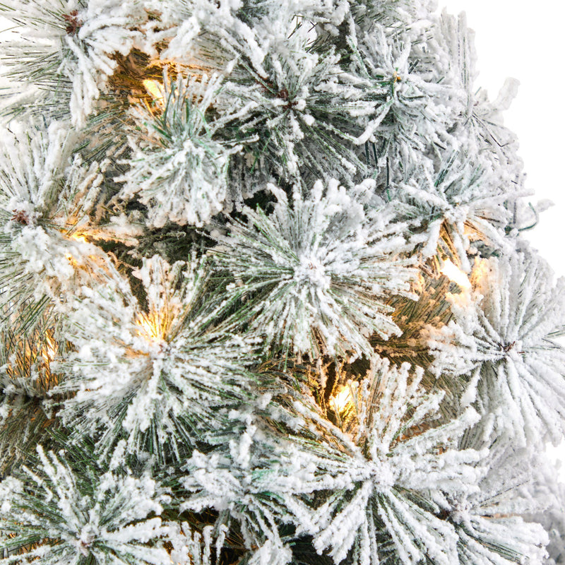 "44"" Flocked Oregon Pine Artificial Christmas Tree with 50 Clear Lights and 113 Bendable Branches in Charcoal Planter"