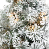 "44"" Flocked Oregon Pine Artificial Christmas Tree with 50 Clear Lights and 113 Bendable Branches in Decorative Urn"