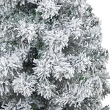 "44"" Flocked Rock Springs Spruce Artificial Christmas Tree with 50 Clear LED Lights in Red Tower Planter"