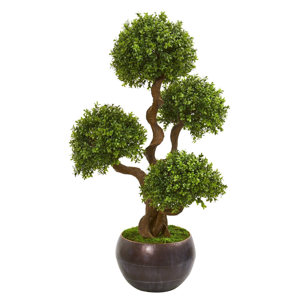 44 Four Ball Boxwood Artificial Topiary Tree In Planter Nearly Natural