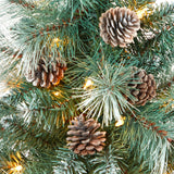 "44"" Frosted Tip British Columbia Mountain Pine Artificial Christmas Tree with 50 Clear Lights, Pine Cones and 112 Bendable Branches in Red Tower Planter"