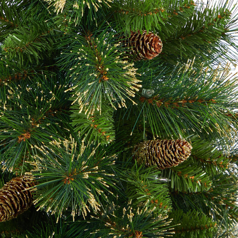 "44"" Golden Tip Washington Pine Artificial Christmas Tree with 50 Clear Lights, Pine Cones and 148 Bendable Branches in Red Tower Planter"