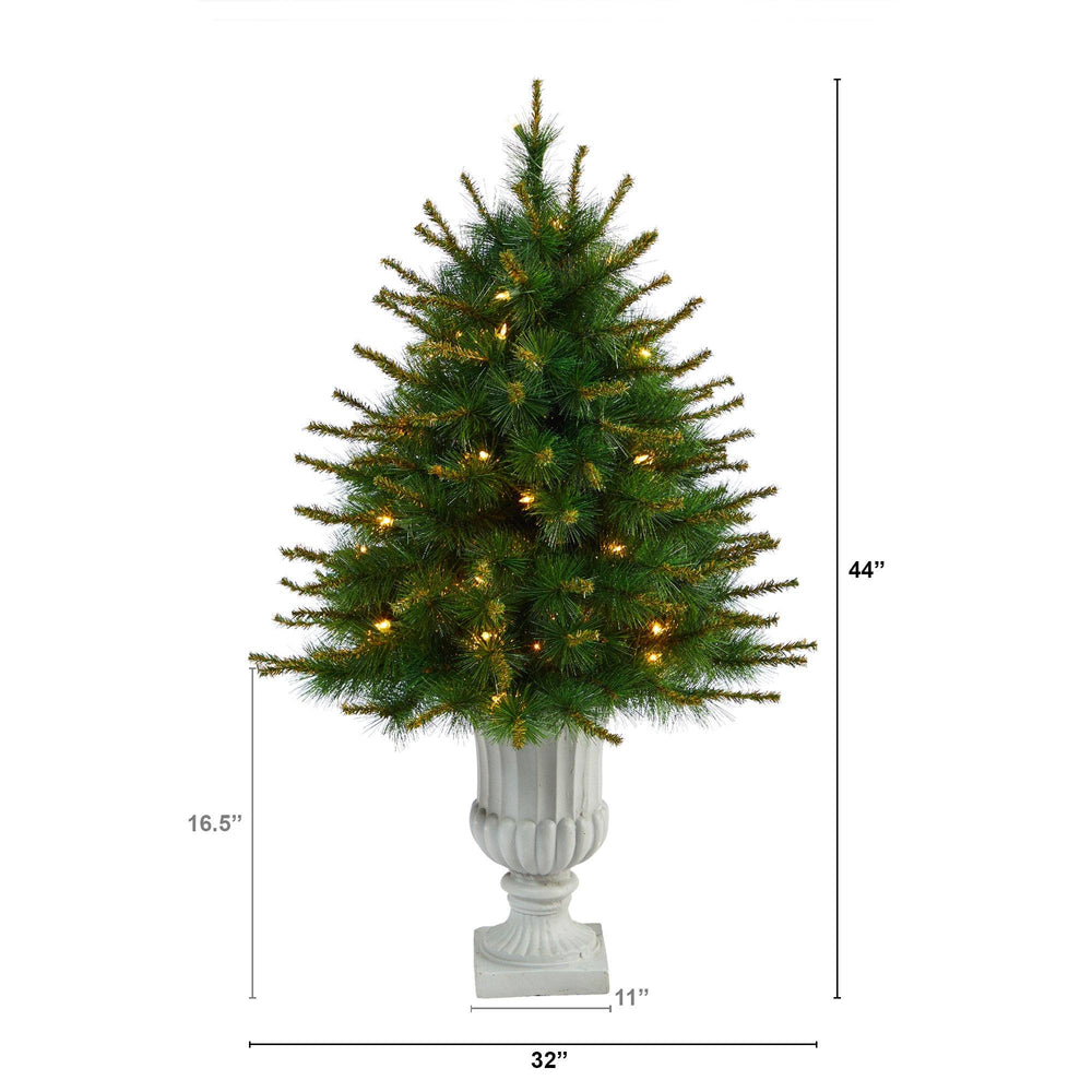 "44"" New England Pine Artificial Christmas Tree with 50 Clear Lights and 117 Bendable Branches in Decorative Urn"
