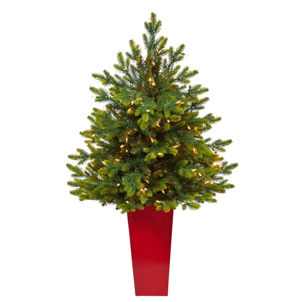 "44"" North Carolina Fir Artificial Christmas Tree with 150 Clear Lights and 563 Bendable Branches in Red Tower Planter"