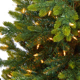 "44"" North Carolina Fir Artificial Christmas Tree with 150 Clear Lights and 563 Bendable Branches in Sand Colored Urn"