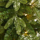 "44"" Snowed Grand Teton Fir Artificial Christmas Tree with 50 Clear Lights and 111 Bendable Branches in Red Planter"