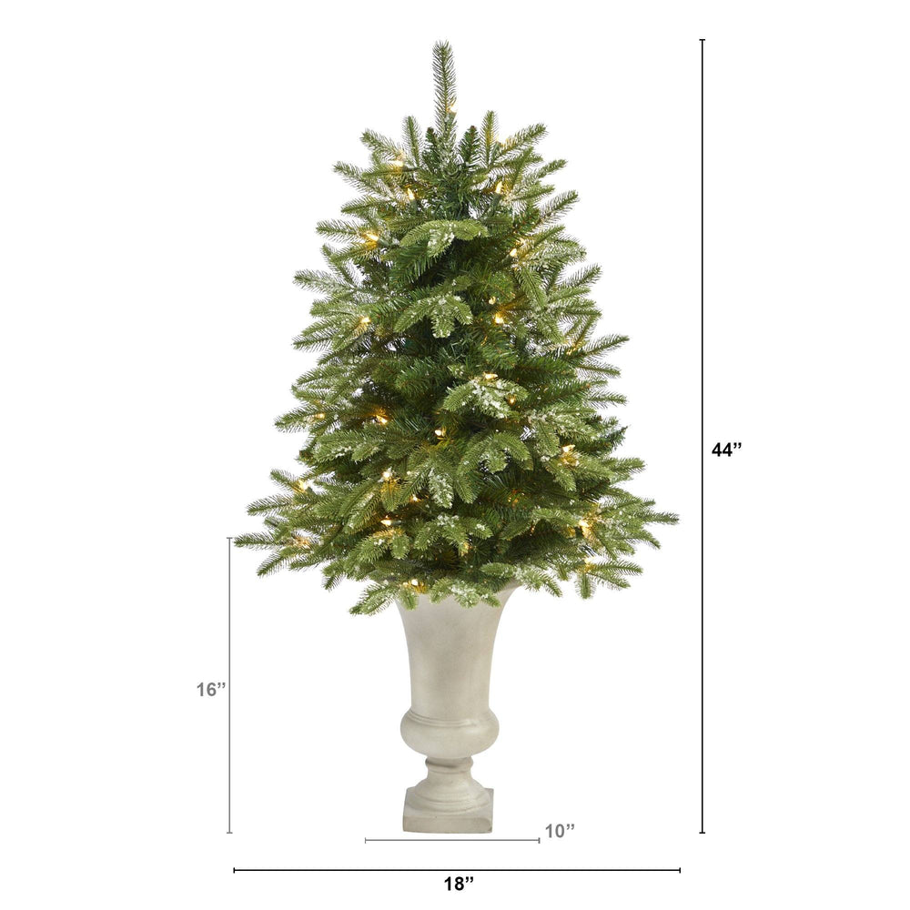 "44"" Snowed Grand Teton Fir Artificial Christmas Tree with 50 Clear Lights and 111 Bendable Branches in Sand Colored Urn"
