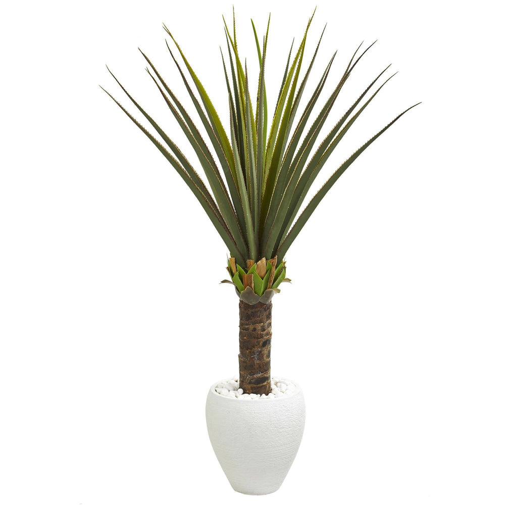 4.5' Agave Artificial Plant in White Planter