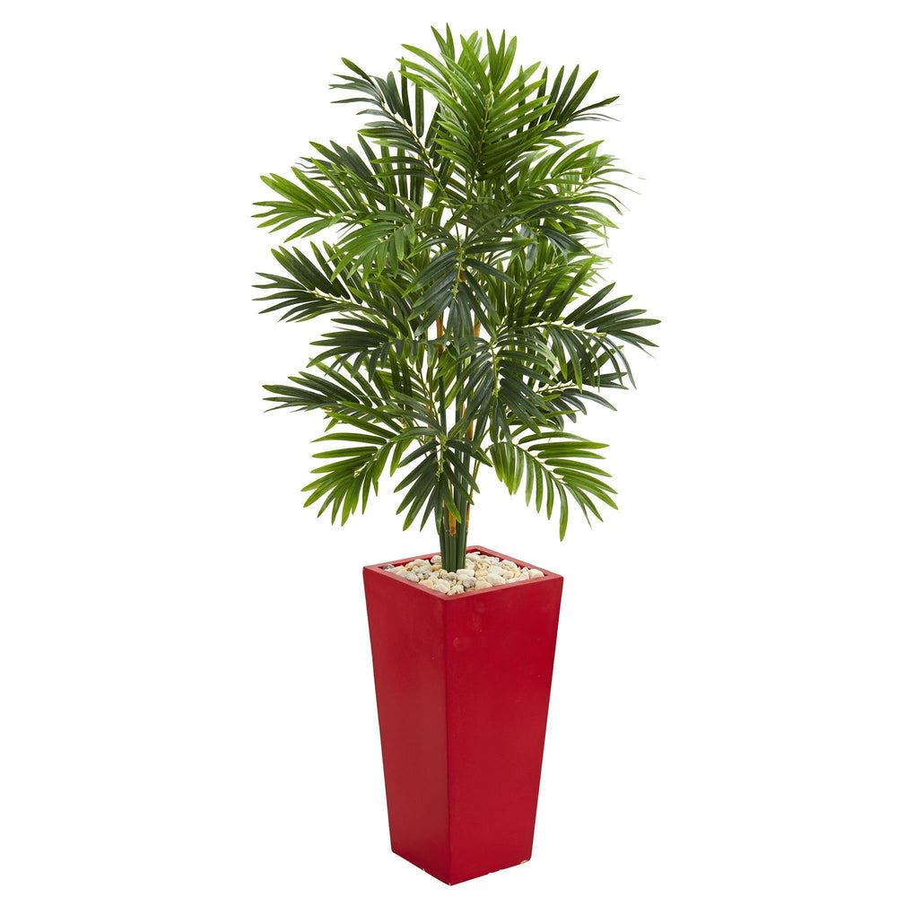 4.5' Areca Artificial Palm Tree in Red Planter