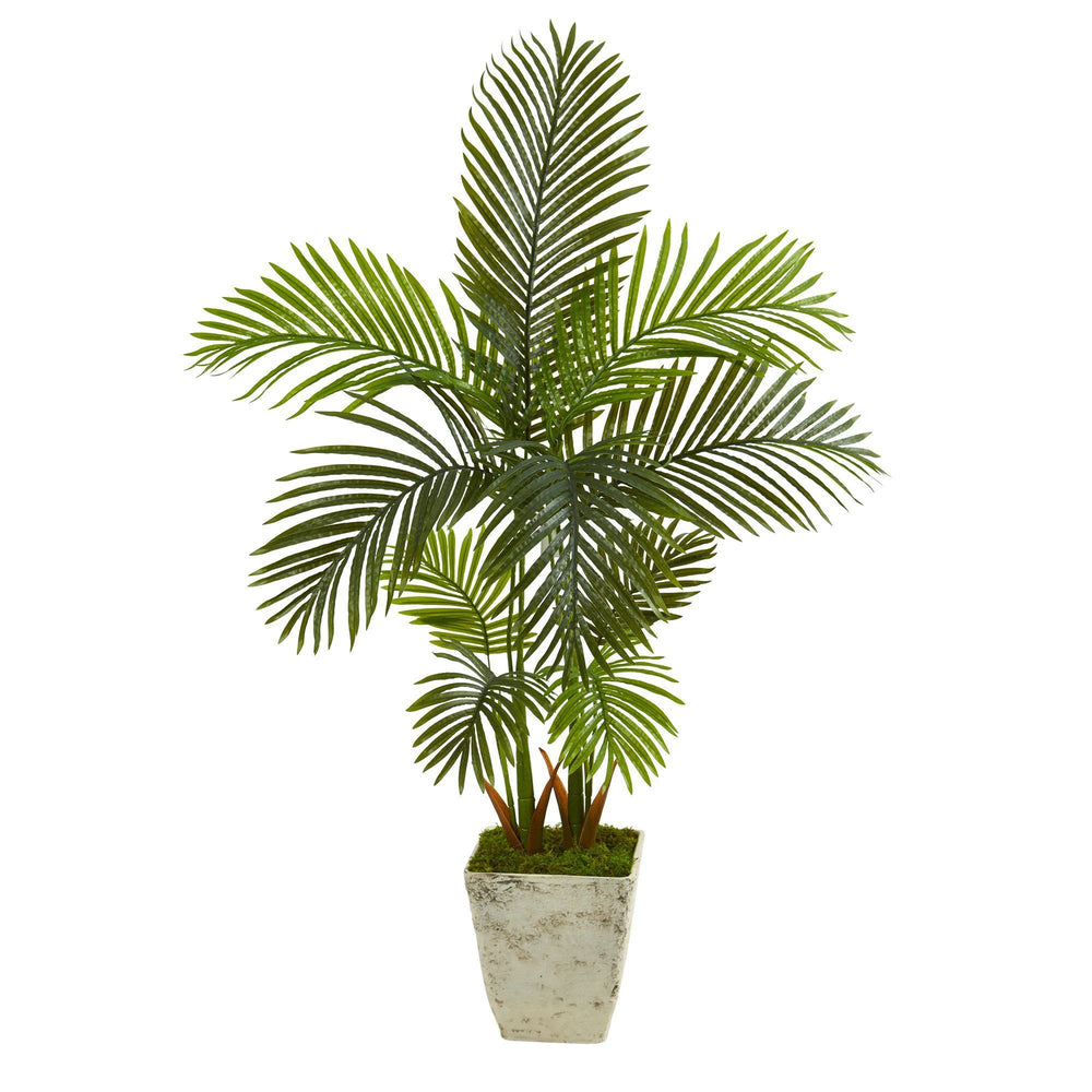 4.5' Areca Palm Artificial Tree in Country White Planter