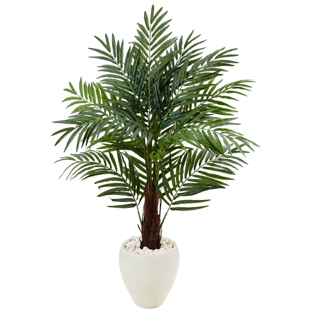 4.5' Areca Palm Tree in White Oval Planter
