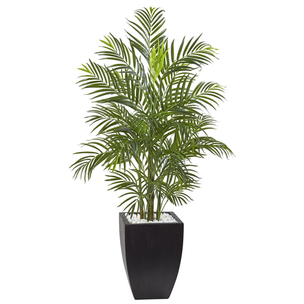 4.5' Areca Palm Tree with Black Wash Planter UV Resistant (Indoor/Outdoor)