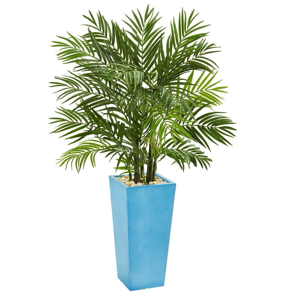 4.5' Areca Plam Artificial Tree in Turquoise Planter