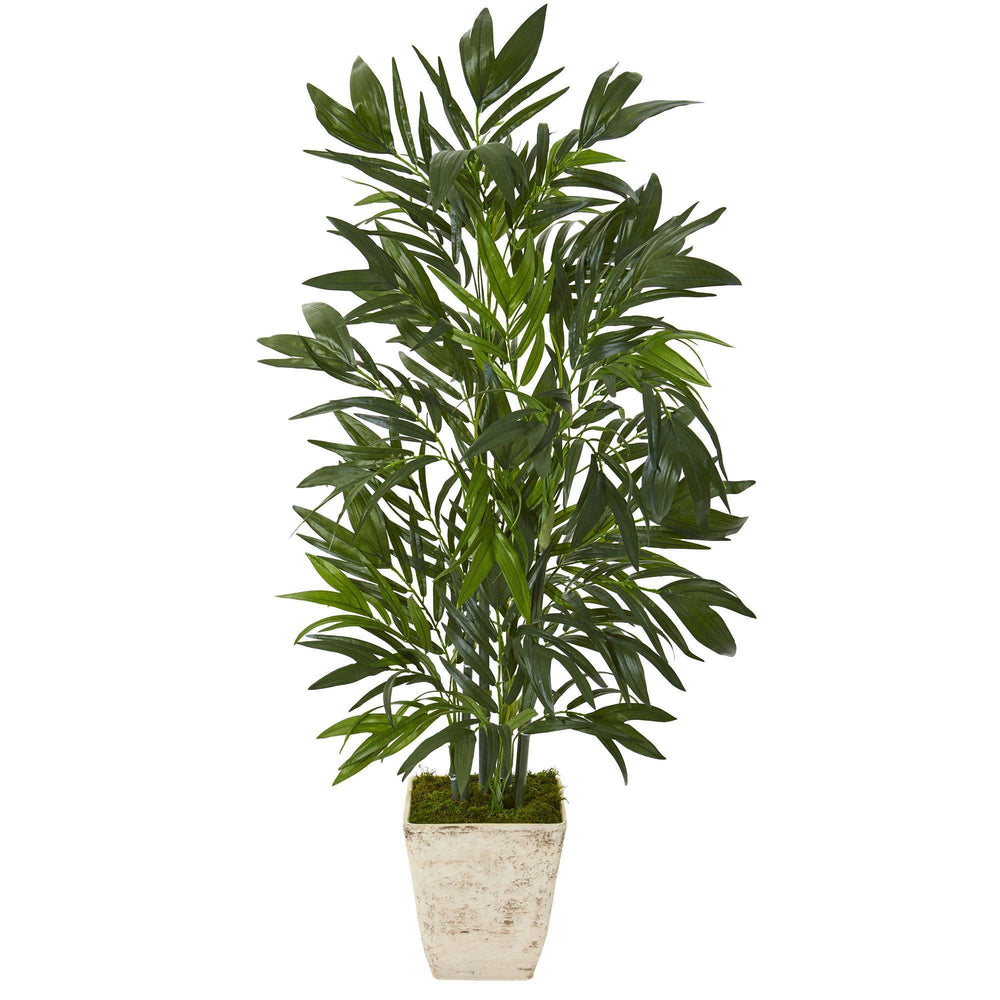 "45"" Bamboo Palm Artificial Tree in Country White Planter"