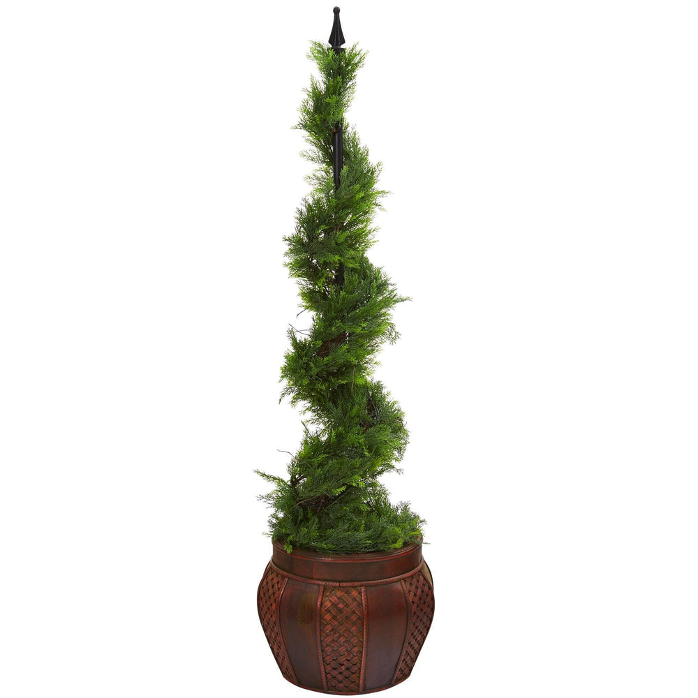 4.5' Cypress Artificial Spiral Topiary Tree in Decorative Planter