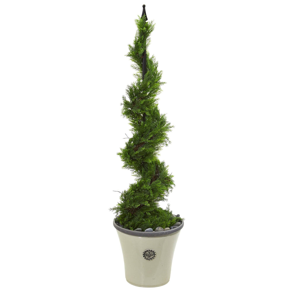 4.5' Artificial Cypress Spiral Topiary Tree in Decorative Planter