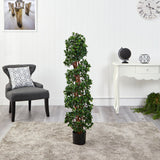 4.5' English Ivy Spiral Topiary Artificial Tree with Natural Trunk UV Resistant (Indoor/Outdoor)