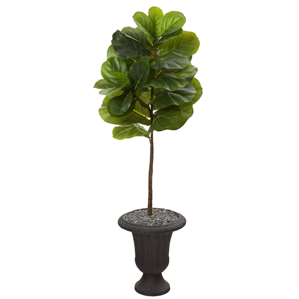 4.5' Fiddle Leaf Artificial Tree in Charcoal Urn (Real Touch)