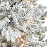 "45"" Flocked Fraser Fir Artificial Christmas Tree with 200 Warm White Lights and 481 Bendable Branches in Gray Planter with Stand"