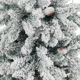 4.5' Flocked Livingston Fir Artificial Christmas Tree with Pine Cones and 150 Clear Warm LED Lights in Charcoal Urn